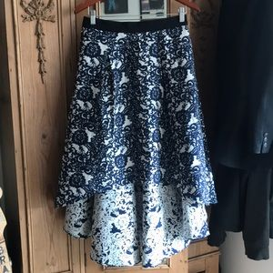 Anthropologie Navy/White High Low Skirt
